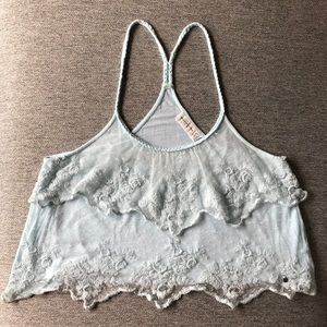 Abercrombie & Fitch Cropped Top Pale Blue Lace Med